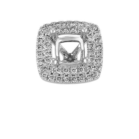 Diamond Double Halo Head in White Gold to Hold 1.00 Carat Cushion Cut Stone