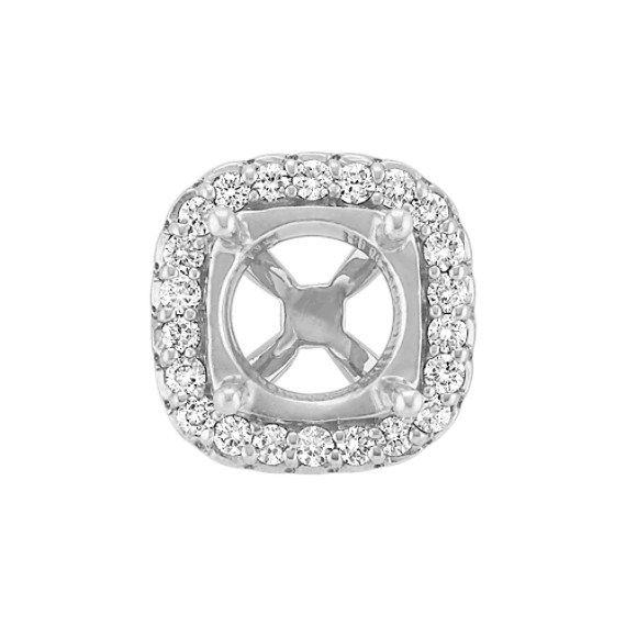 Diamond Halo Head  to Hold 1.50 cts. Cushion Cut Stone