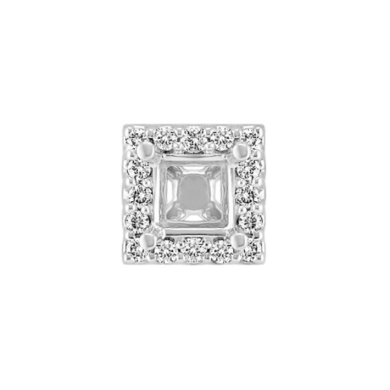 Diamond Halo Head  to Hold .50 ct. Princess Cut Stone