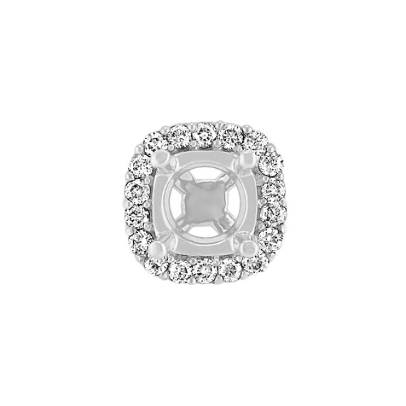 Diamond Halo Head  to Hold .75 ct. Cushion Cut Stone