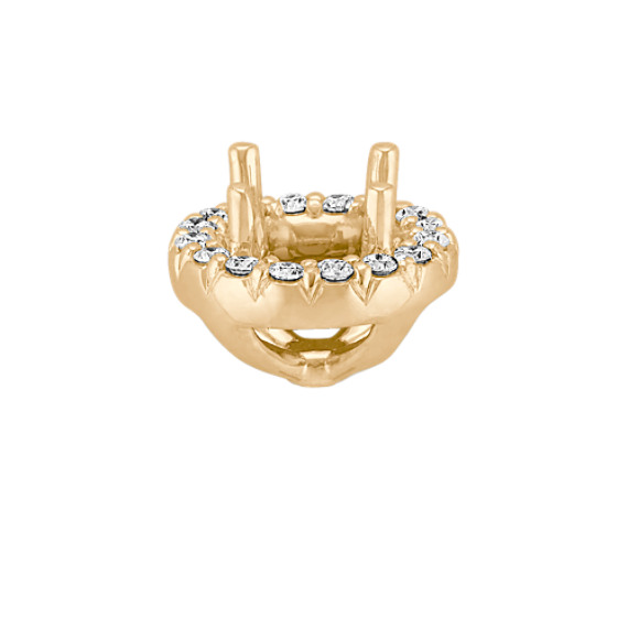 Diamond Halo Head, 14k Yellow Gold, to Hold 1 ct. Round Stone