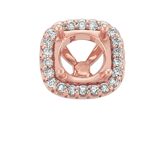 Diamond Halo Head in Rose Gold to Hold 1.50 cts. Cushion Cut Stone