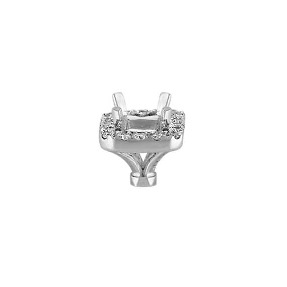 Diamond Halo Head in White Gold to Hold .50 carat Emerald Cut Stone