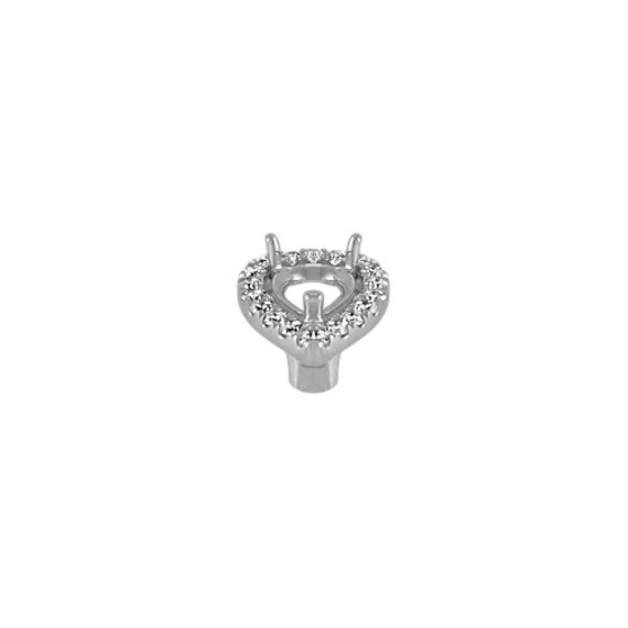 Diamond Halo Head to Hold 0.50 Carat Pear-Shaped Stone