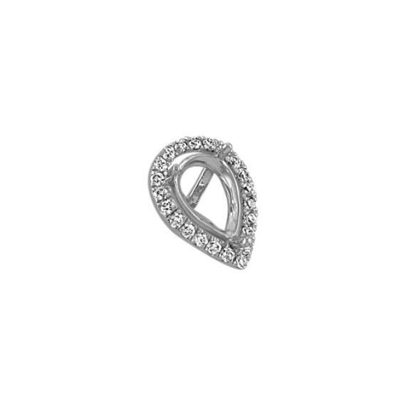 Diamond Halo Head to Hold 0.75 Carat Pear-Shaped Stone