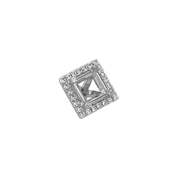 Diamond Halo Head to Hold 0.75 Carat Square Stone