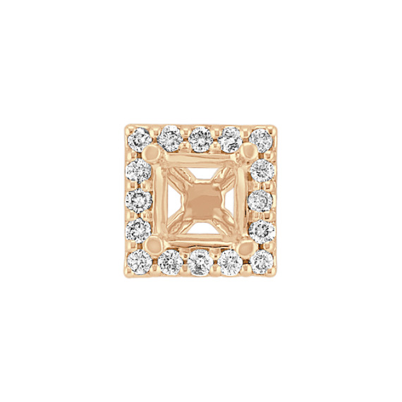 Diamond Halo Head to Hold .75 ct. Princess Cut Stone