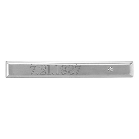 Round Diamond and Stainless Steel Tie Clip
