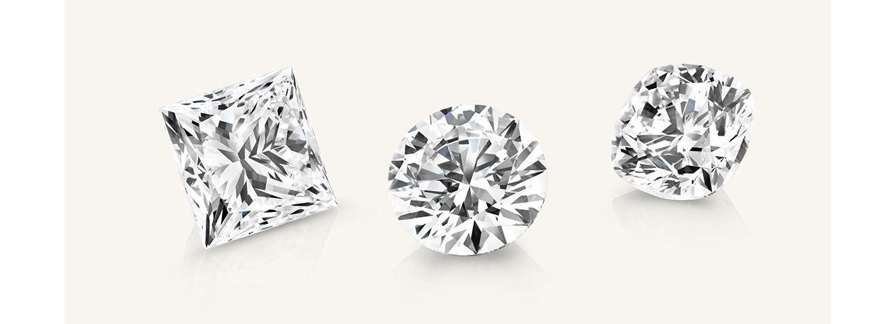 Three different diamond shapes