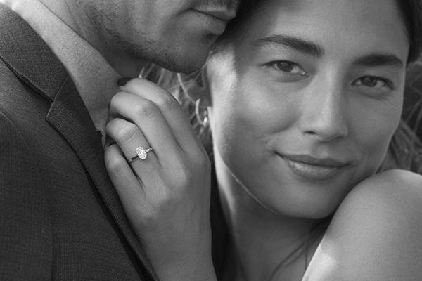 Woman wearing a diamond engagement ring
