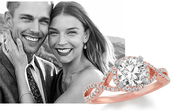 Image of a couple and a diamond engagement ring