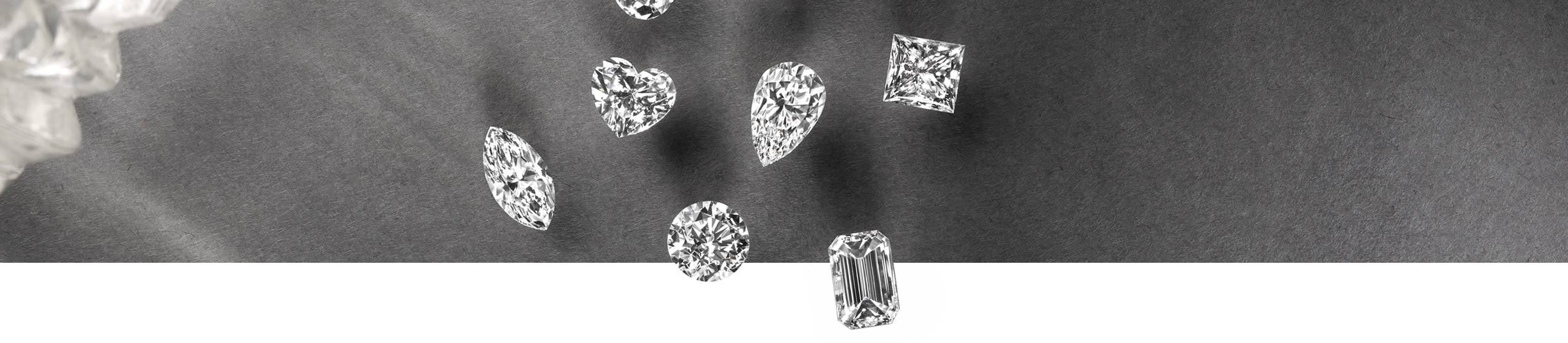 Top View of Loose Diamonds in Different Shapes