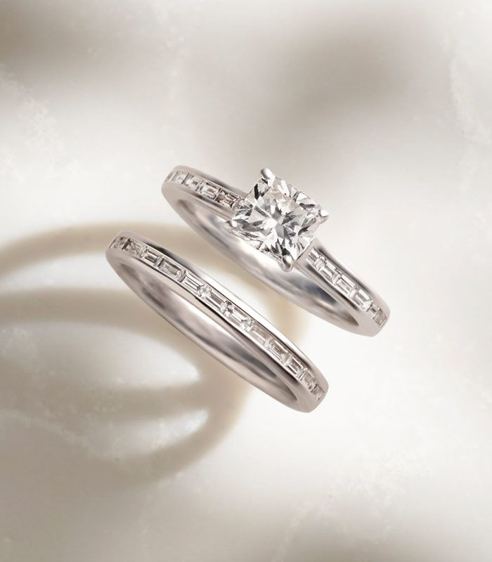 Channel Set Engagement Ring and Matching Band