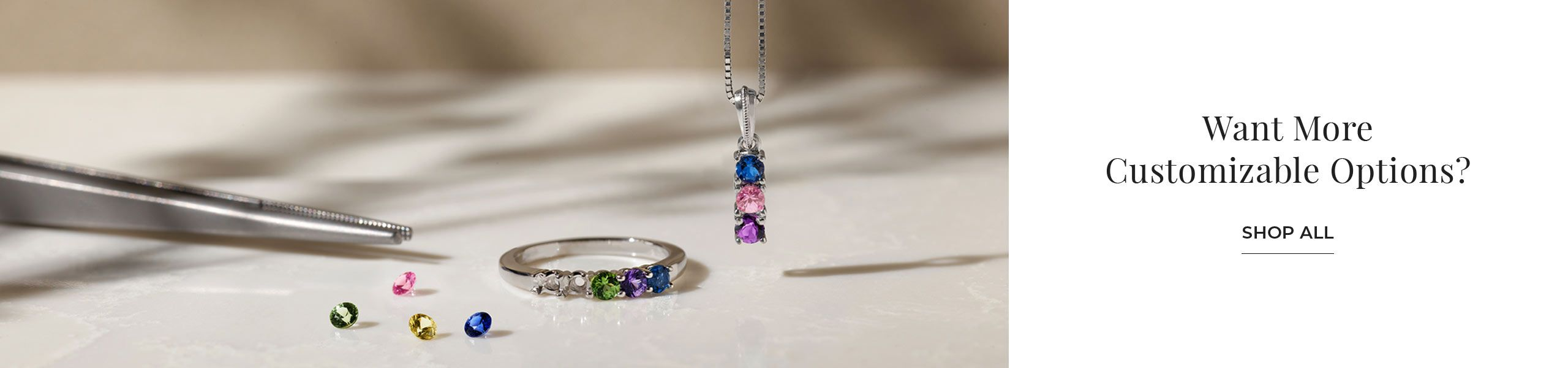 A family collection ring and pendant with loose stones