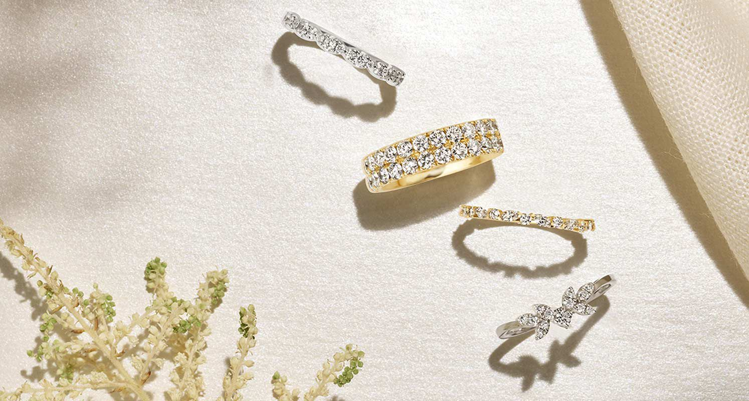 A collection of women's wedding bands