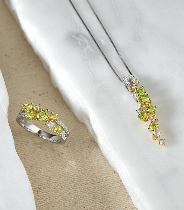 Mobile image of a peridot fashion pendant and fashion ring