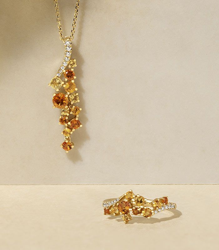 Mobile image of a fashion citrine pendant and matching fashion ring