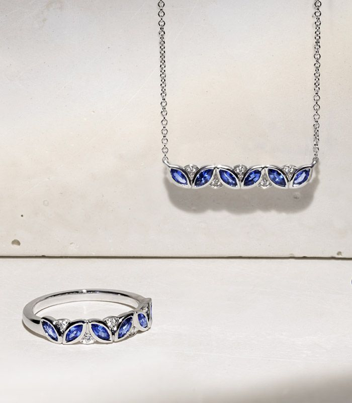 A sapphire fashion necklace and matching fashion ring