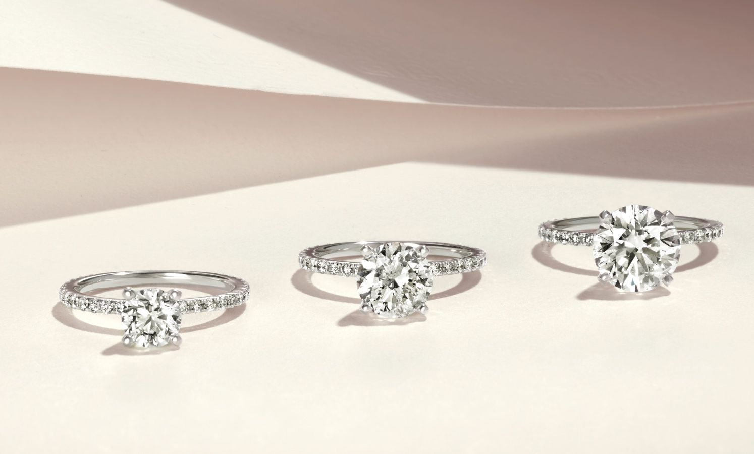 A collection of diamond engagement rings with different center stone sizes