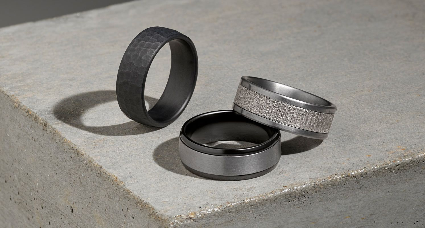 A collection of men's wedding bands