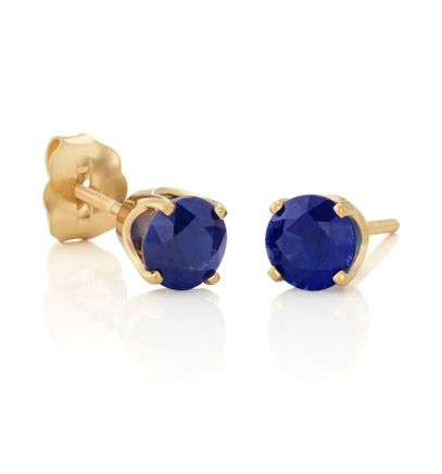Round Traditional Blue Sapphires in Yellow Gold image