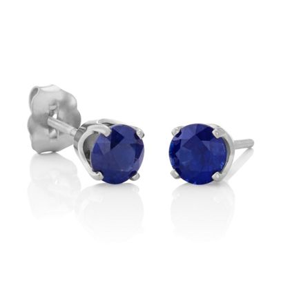 Round Traditional Blue Sapphires in White Gold image
