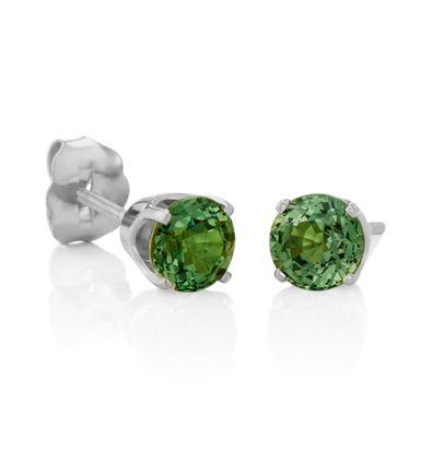 Round Green Sapphires in White Gold image