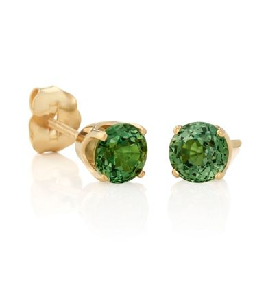 Round Green Sapphires in Yellow Gold image