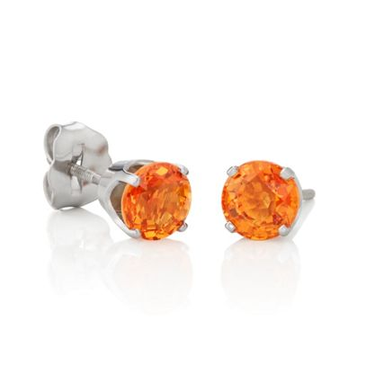 Round Orange Sapphires in White Gold image