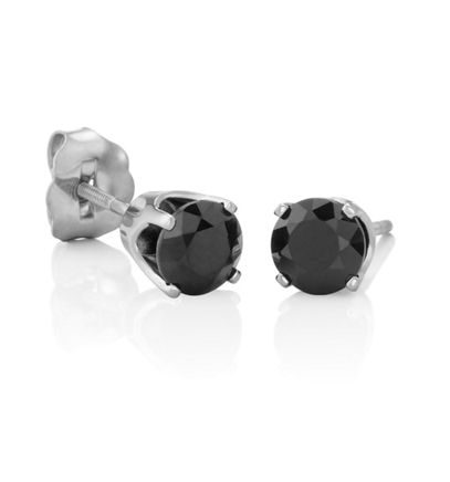 Round Black Sapphires in White Gold image