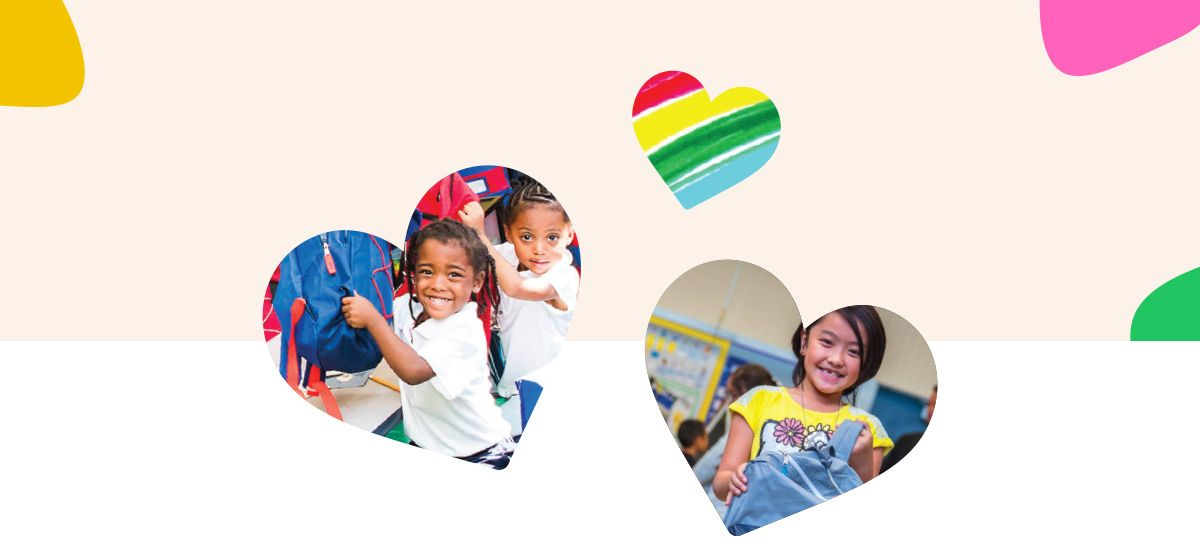 Mobile Image of Smiling children surrounded by different colored hearts