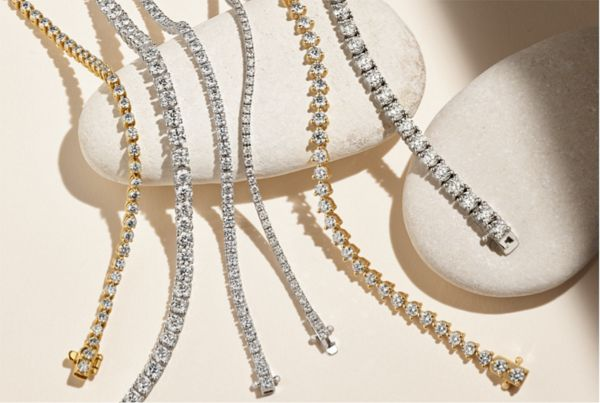 Mobile Image of a collection of diamond tennis bracelets