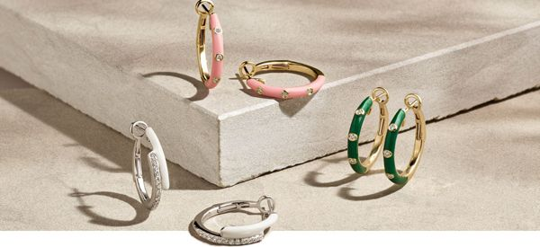 Mobile Image of a collection of enamel hoop earrings