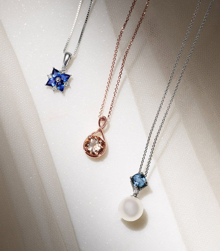 Sapphire Pendant, Morganite Pendant and Pearl Pendant for Bridesmaids