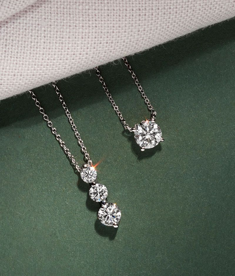 Image of three diamond pendants