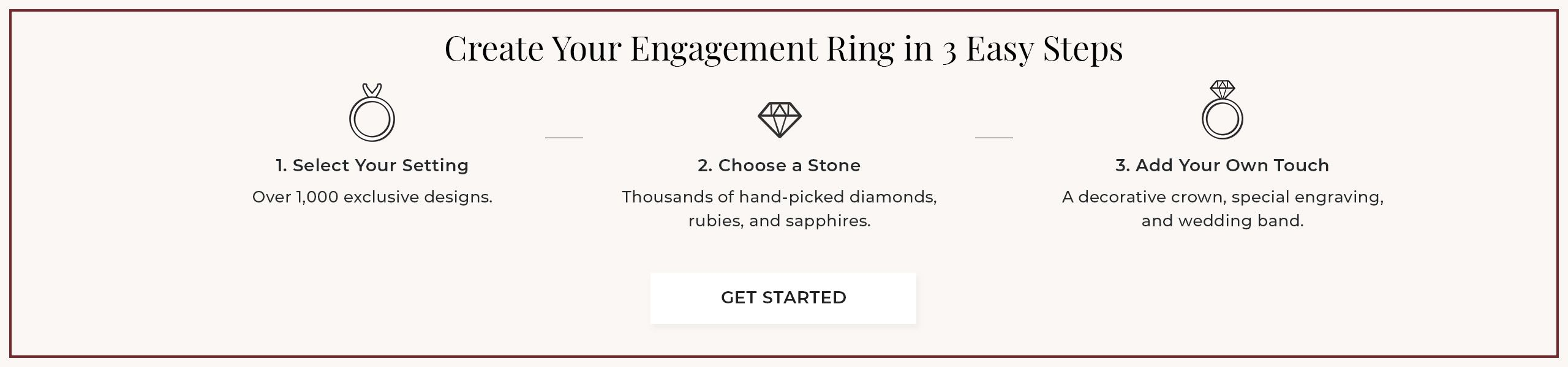 Create your dream ring in 3 easy steps