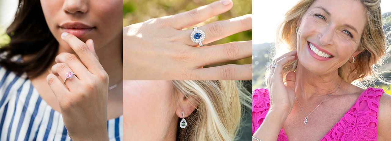 Collection of images of women wearing various sapphire styles