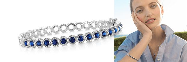 Image of a sapphire bracelet and a woman wearing sapphire jewelry.