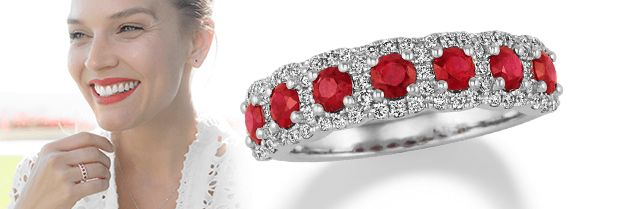 Image of a ruby ring and a woman wearing ruby jewelry.