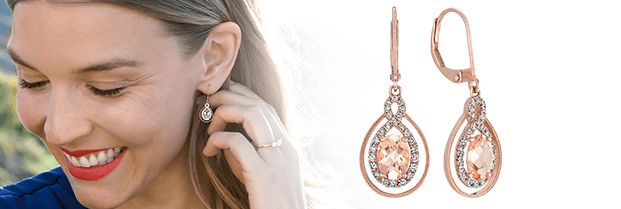 A pair of gemstone earrings and a woman wearing gemstone jewelry.
