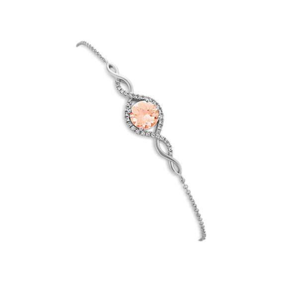 Pink Morganite and Diamond Twist Bracelet (7.5 in)