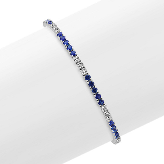 Traditional Sapphire and Diamond Bracelet (7 in.)