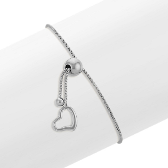 14k White Gold Adjustable Popcorn Chain Bracelet with Heart Accent (9 in)