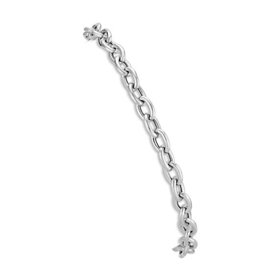 14k White Gold Link Charm Bracelet (7.5 in)