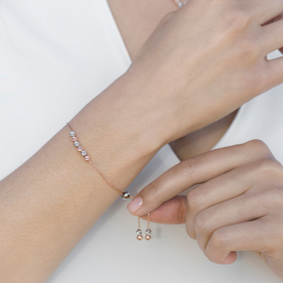 14k White and Rose Gold Lariat Bracelet (9.5 in.) image