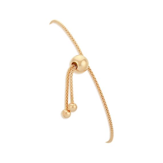14k Yellow Gold Adjustable Popcorn Chain Bracelet (9 in)