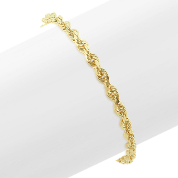 e5b47b500cc74 14k Yellow Gold Diamond Cut Rope Bracelet (8.5 in)