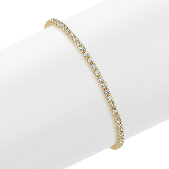 14k Yellow Gold Diamond Tennis Bracelet (8 in)