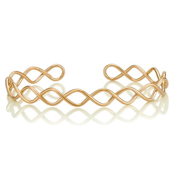 14k Yellow Gold Twist Cuff Bracelet (7 in) image