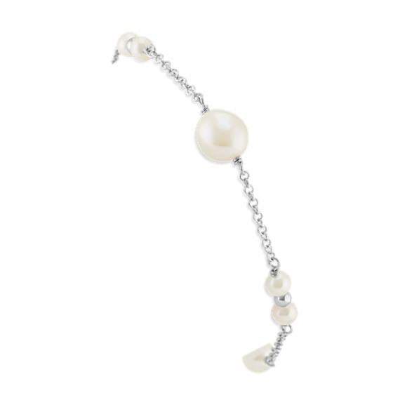 4-9mm Cultured Freshwater Pearl Bracelet in Sterling Silver (9 in)